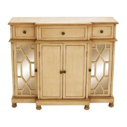 "Benzara - Wood Mirror Cabinet Lavished with a Rich Beige Color - Wood Mirror Cabinet Lavished with A Rich Beige Color. Crafted with great finesse, this wood mirror cabinet offers versatile usage and can be incorporated in any decor setup. It comes with the following dimensions 42""W x 14""D x 35""H."