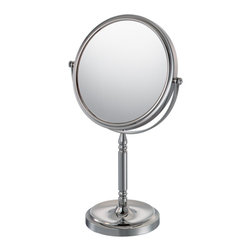 """Recessed Base Vanity Mirror - The Recessed Base Vanity Mirror's regal look is a splendid touch for any room. With a choice of 1x/5x and 1x/10 magnification, the 15"""" tall mirror has a diameter of 7 ¾"""". The base contains a recess for jewelry and the almost ornate design on the stand is sure to liven up any vanity. 1x/5x is available in two finishes."""
