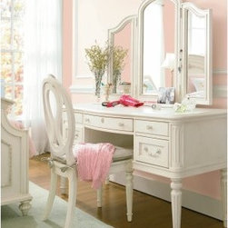 Gabriella Vanity - Mirror, mirror on the wall, who is the grandest vanity of them all? With the Gabriella Vanity, the answer is you, forever and for always. This stately vanity is every little princess's dream come true. Constructed from durable wood, this enchanting piece is finished with a smooth white Lace finish that complements the simple and classic design. While the vanity features a timeless design, it's fitted with a few modern touches, such as a filing drawer, two box drawers with an included pencil tray and a flip-down, pull out keyboard drawer.The three-pane beveled mirror effortlessly graces the vanity with it's hinged panes and ornate cresting fashion. The stately chair continues the classic design and construction while furthering the modern additions with a hidden storage compartment inside it's seat.Additional FeaturesEnglish dovetail drawer construction, front and backSoft, self-closing, full-extension metal on metal drawer guidesAdjustable levelers for use on uneven surfacesAbout Universal Furniture InternationalRecognized as a leader in exceptionally crafted home furnishings, including bedroom and dining room items, entertainment centers, and more, Universal strives to make items that are styled to endure but always remain fresh. They make it a goal to include features that fit the way their customers live today, and to find prices that put high-quality products within reach. These are the principles that guide the work at Universal, essential elements of good, affordable, and smart design.