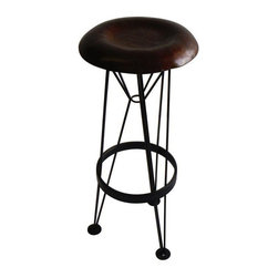 Used Hammered Steel Bar Stool - A light steel tripod supports a hammered sheet steel seat. Beautifully textured using vintage automotive forming techniques and finished in a traditional Japanese brown patina. A swoon-worthy stool that doubles as a work of art!