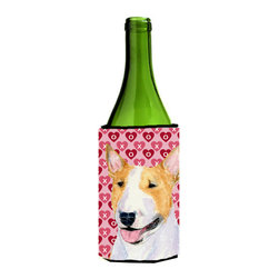 Caroline's Treasures - Bull Terrier Hearts Love and Valentine's Day Portrait Wine Bottle Koozie Hugger - Bull Terrier Hearts Love and Valentine's Day Portrait Wine Bottle Koozie Hugger Fits 750 ml. wine or other beverage bottles. Fits 24 oz. cans or pint bottles. Great collapsible koozie for large cans of beer, Energy Drinks or large Iced Tea beverages. Great to keep track of your beverage and add a bit of flair to a gathering. Wash the hugger in your washing machine. Design will not come off.