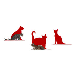 Cat Silhouette Cat Shelf, Set of 3 - You live in a cat house, and you love it that way; why be discreet about it? These cat silhouette wall shelves make a proud style statement of your handsome felines, while providing them with cozy, padded platforms to rest on. The laser-cut silhouettes come in three charming poses and are available in a variety of colors, from subtle to boldly contrasting.