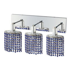 "PWG Lighting / Lighting By Pecaso - Wiatt 3-Light 14.5"" Crystal Vanity Fixture 1091W-O-E-SA-SS - Whether shown individually or as a collection, our Mini Crystal Chandeliers are stunning in any fashion. This stylish collection offers stunning crystal in a range of colorful options to suit every decor."