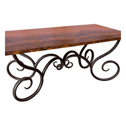 """Mathews & Company - Milan Dining Table with 44"""" x  72"""" Soft Oval Copper Top - Pictured in Copper top and Black finish."""