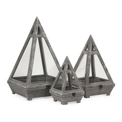 iMax - Kira Wood Terrariums, Set of 3 - This set of three fir wood terrariums each feature a pyramid shape, glass inserts and iron closures to create a beautiful miniature garden landscape indoors.