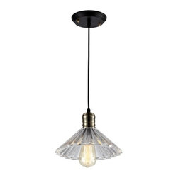 Ohr Lighting® - Ohr Lighting® Edison Ribbed Glass Light Pendantx, Matte Black/Iron - Features