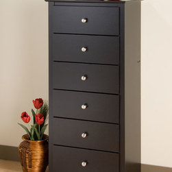 None - Broadway Black 6-drawer Lingerie Chest - Add more storage space to any bedroom with this black six-drawer lingerie chest from Broadway. Each drawer has a stylish brushed nickel knob for a touch of style. Metal gliders and drawer stops make it easy and safe to put away and remove items.