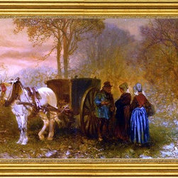 """Charles Rochussen-14""""x28"""" Framed Canvas - 14"""" x 28"""" Charles Rochussen Travellers by a Horse and Cart in a Wooded Landscape framed premium canvas print reproduced to meet museum quality standards. Our museum quality canvas prints are produced using high-precision print technology for a more accurate reproduction printed on high quality canvas with fade-resistant, archival inks. Our progressive business model allows us to offer works of art to you at the best wholesale pricing, significantly less than art gallery prices, affordable to all. This artwork is hand stretched onto wooden stretcher bars, then mounted into our 3"""" wide gold finish frame with black panel by one of our expert framers. Our framed canvas print comes with hardware, ready to hang on your wall.  We present a comprehensive collection of exceptional canvas art reproductions by Charles Rochussen."""