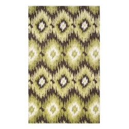 Safavieh - Safavieh Retro RET2143-2852 5' x 8' Dark Brown, Green Rug - Safavieh channels the Sixties with Retro Shag, a cool new spin on the essential floor covering of mid-century modern style. The perfect complements to clean-lined furniture of the period, these chic black and white designs morph into tones of gray, silver and ivory in patterns from Pollack-inspired abstracts to contemporary graphics. Machine-loomed in Turkey of 100 percent polypropylene, our low-pile Retro Shag rugs combine beauty, easy care and outstanding performance