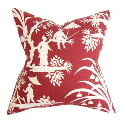 """The Pillow Collection - Liya Floral Pillow Red - Fill your sofa, bed or seat with this inviting decor piece. This accent pillow comes with a two-toned color palette with shades of red and white. This square pillow features an Oriental-themed detail and a rich foliage. Toss this 18"""" pillow on your sofa, couch or seat to create a relaxing space. Constructed with a blend of fine-quality materials: 55% linen and 45% rayon. Hidden zipper closure for easy cover removal.  Knife edge finish on all four sides.  Reversible pillow with the same fabric on the back side.  Spot cleaning suggested."""