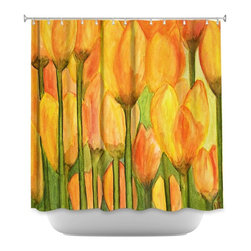 DiaNoche Designs - Shower Curtain Artistic Tulips - DiaNoche Designs works with artists from around the world to bring unique, artistic products to decorate all aspects of your home.  Our designer Shower Curtains will be the talk of every guest to visit your bathroom!  Our Shower Curtains have Sewn reinforced holes for curtain rings, Shower Curtain Rings Not Included.  Dye Sublimation printing adheres the ink to the material for long life and durability. Machine Wash upon arrival for maximum softness on cold and dry low.  Printed in USA.