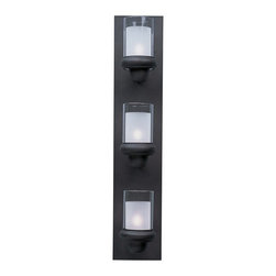 Maxim Lighting - Modern Vertical Bathroom Light with White Glass in Bronze Finish - 22357CLFTBZ - Contemporary / modern bronze 3-light bathroom light. Takes (3) 60-watt xenon G9 bulb(s). Bulb(s) included. Damp location rated.