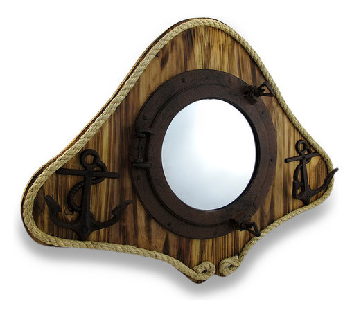Zeckos - Rustic Finish Mirrored Porthole/Anchor Hooks Wooden Wall Hanging - This substantial wall hanging features a rustic finish cast iron porthole mounted on a wood base with a mirrored glass insert that would add an amazing nautical accent to the walls of living rooms, dining rooms, bars or restaurants. It's framed with a natural jute rope, and two cast iron anchor and rope shaped hooks flank each side, with two hooks each perfect for hanging coats, towels or robes. It measures 18 inches (46 cm) high, 23.5 inches (60 cm) wide, 3.5 inches (9 cm) deep, and easily hangs using the attached sawtooth hanger on the back. It provides a wonderful focal point on any wall, and makes a great gift for nautical decor fans or a seafaring friend