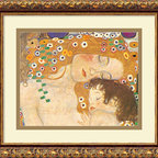 "Amanti Art - ""Three Ages of Woman — Mother and Child (Detail IV), 1905"" Framed Print by Gusta - No love is as sweet nor pure as the unbreakable bond between mother and child. This stunning image of a golden-haired mother embracing her sleeping infant is a detail of Gustav Klimt's larger original piece, the ""Three Ages of Woman-Mother and Child."" Flowing lines and a rich, textured palette highlight this precious moment and make a tender addition to your bedroom, living room or child's room."