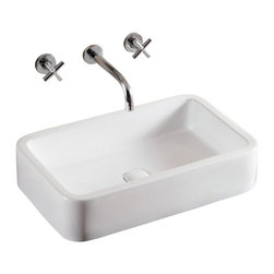 Caracalla - Rectangular White Ceramic Vessel Bathroom Sink, No Hole - Porcelain sink made for the bathroom or powder room. Rectangular vessel design complements well with a countertop or vanity. Made without overflow and no hole options in Italy by Caracalla.