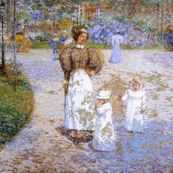 """Frederick Childe Hassam Spring in Central Park (also known as Springtime) - 16"""" - 16"""" x 20"""" Frederick Childe Hassam Spring in Central Park (also known as Springtime) premium archival print reproduced to meet museum quality standards. Our museum quality archival prints are produced using high-precision print technology for a more accurate reproduction printed on high quality, heavyweight matte presentation paper with fade-resistant, archival inks. Our progressive business model allows us to offer works of art to you at the best wholesale pricing, significantly less than art gallery prices, affordable to all. This line of artwork is produced with extra white border space (if you choose to have it framed, for your framer to work with to frame properly or utilize a larger mat and/or frame).  We present a comprehensive collection of exceptional art reproductions byFrederick Childe Hassam."""