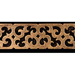 "Compliments Accessories - Theodora Tile Liner - Byzantine scrollwork design 1x6"" liner in an Aged Brass finish"