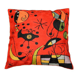 """Modern Wool - Miro Cushion Cover Creatures Red Hand Embroidered 18"""" x 18"""" - Miro Cushion Cover hand embroidered - Exquisite chain-stitch needlepoint embroidery and design inspired by the works of modern artist, Joan Miró. Creatures in the manner of his 'Constellations' portfolio abound here, in fine Miro style . Vibrant colors are used to create a contemporary and festive atmosphere. These unique pillows work as an excellent throw pillows and are a must for accessorizing any sofa, couch or chaise lounge. Available in red (pictured here), white, or orange background."""