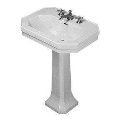 """Duravit - Duravit 1930 Series 27 Washbasin Pedestal Sink, Alpine White (D1000400) - Duravit D1000400 1930 Series 27"""" Washbasin Pedestal Sink, Alpine White"""