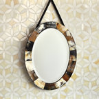 Fiona Jewel Glass Mosaic - Fiona, a jewel glass waterjet mosaic, is shown in Absolute White and Quartz.