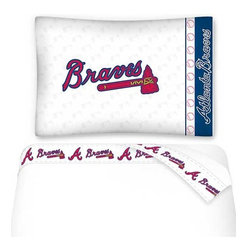 Sports Coverage - MLB Atlanta Braves Baseball Twin Bed Sheet Set - Features: