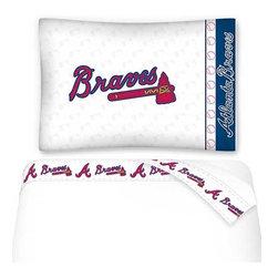 Sports Coverage - MLB Atlanta Braves Baseball Twin Bed Sheet Set - Features: