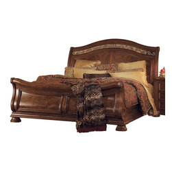 Wynwood - Wynwood Granada King Sleigh Bed in Cordillera Pine - This beautiful Granada King Sleigh Bed in Cordillera Pine by Wynwood Furniture is the ultimate centerpiece for a grand master bedroom. The graceful scroll carving on the sleigh ends creates a sophisticated look, while the ornate wrought iron carvings along the top of the headboard are reminiscent of classic Mediterranean style. This bed has a Cordillera Pine finish with stunning veneer accents. This bed is available in Queen and King sizes.