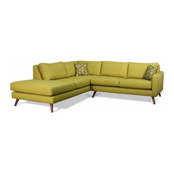 TrueModern Dane Corner Sectional Sofa With Bumper - Here's a modern sectional that's still comfortable and inviting. The bright lime green brings sunny charm to a room with low light.