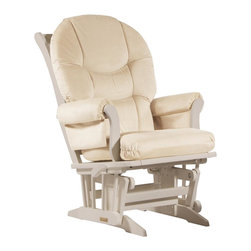 Dutailier - Sleigh glider-multiposition and recline - beige - Dutailier's exclusive gliding system with top quality sealed ball bearings. Multiposition mechanism allows to stop the glider at the desired position. Great reclining mechanism allows backrest to be fully adjustable. Hardwood frame in white finish. Removable foam cushions and padded arms. Glider: 27 in. x 31 x 42.5 in.Ideal for nursing or simply relaxing, this Sleigh glider offers an exceptionally smooth and extra long glide motion with thick cushions and padded arms that will add class and elegance to your decor. The multiposition mechanism locks the glider in 6 different positions and makes it easier to sit in or step out of the glider. In addition, it features a reclining mechanism to maximize your comfort. There are no sharp edges, the finish is toxic free and this product meets all safety standards.