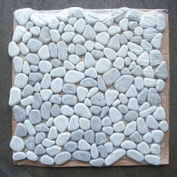 "Stone Center Corp - Lagos Azul Mix River Rocks Pebble Stone Mosaic Tile Tumbled - Lagos Azul Marble random size pebble pieces mounted on 12"" x 12"" sturdy mesh tile sheet"