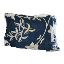 Crewel Fabric World - Crewel Pillow Sham Starry Night Deep Blue Silk Organza Standard - Artisans in a remote mountain village in Kashmir crewel stitch these blossoms, vines and leaves by hand, resulting in a lush pattern of richly shaded wool yarns on Linen, Cotton, Velvet, Silk Organza, Jute. Also backed in natural linen, Cotton, Velvet Silk Organza, Jute with a hidden zipper.