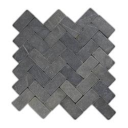 CNK Tile - Grey Herringbone Stone Mosaic Tile - Usage: