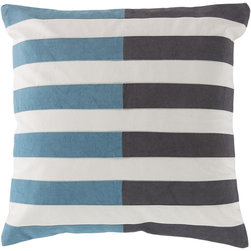 Surya - Oxford, Gray and Teal, 18x18 Pillow - This pillow design features bold color blocks offset by a horizontal white stripe pattern.Complete with a 100% cotton cover and down insert, this pillow will add flare to any room.