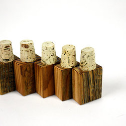 Reclaimed Wood Bottle Stopper by Made for Each Other - Made from 100-year-old reclaimed Douglas fir barn wood and natural cork, these lovely bottle stoppers will add rustic style to even the humblest bottle of wine.