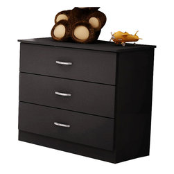 South Shore - South Shore Libra Kids 3 Drawer Chest in Pure Black Finish - South Shore - Kids Dressers - 3070033 - The Libra Three Drawer Chest is constructed from laminated engineered wood and has a pure black finish. It features three drawers for ample storage sleek metal handles simple lines and rounded corners for maximum safety. Distinctly contemporary in style the Libra Three Drawer Chest will fit comfortably in your kid's bedroom.Features: