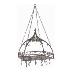 Domed Pot Rack with Hooks - Traditional wrought iron domed pot rack with hooks features open metal-work design