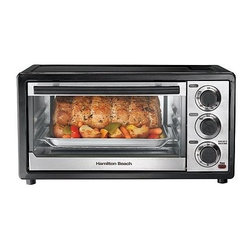 Hamilton Beach - Hamilton Beach 6-Slice-Capacity Toaster Oven - Great for everyday meals or as a second oven for the holidays. Bake/Broil/Toast settings. Timer with auto shutoff. Slide-out crumb tray. Bake pan and broil grid