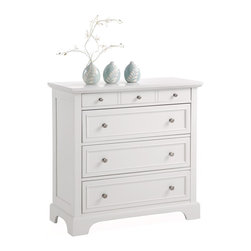 None - Naples White Chest - Constructed in sturdy engineered wood and Asian hardwood and featuring an attractive finish,this modern white chest keeps your valuables safe. It highlights four large drawers with brushed-nickel hardware pulls for ample storage and style.