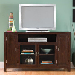 """Home Styles - City Chic 60"""" TV Stand - The City Chic Entertainment Credenza is a perfect addition to your contemporary decor. It has a large open storage area, a two door cabinet with an adjustable shelf, and two cabinets, each with an adjustable shelf. Construction consists of poplar hardwood solids and birch veneers with a multi-step Espresso finish including a clear coat finish to help guard against wear and tear stemming from normal use. Features: -Espresso finish.-Recommended TV Type: Up to a 60"""" flat panel TV.-Finish: Espresso.-Powder Coated Finish: No.-Gloss Finish: No.-Material: Poplar solids and birch veneers.-Distressed: No.-Exterior Shelves: Yes -Number of Exterior Shelves: 1.-Adjustable Exterior Shelves: No..-Drawers: No.-Cabinets: Yes -Number of Cabinets: 3.-Number of Doors: 4.-Door Attachment Detail: Hinges.-Magnetic Door Catches: Yes.-Cabinet Handle Design: Finger pulls.-Number of Interior Shelves: 5.-Adjustable Interior Shelves: Yes..-Scratch Resistant (Scratch Resistant) : No.-Hardware Finish: Brushed steel.-Casters: No.-Accommodates Fireplace: No.-Fireplace Included: No.-Lighted: No.-Media Player Storage: Yes.-Media Storage: Yes.-Cable Management: Cable management opening.-Remote Control Included: No.-Batteries Required: No.-Swatch Available: No.-Commercial Use: No.-Collection: City Chic.-Eco-Friendly: No.-Recycled Content: No.-Lift Mechanism: No.-Expandable: No.-TV Swivel Base: No.-Integrated Flat Screen Mount: No.-Hardware Material: Brushed steel.-Non-Toxic: Yes.-Product Care: Clean with damp cloth.Specifications: -2 glass doors, adjustable shelf in the middle, & 2 doors with storage on sides.-ISTA 3A Certified: Yes.-CARB Certified: Yes.-FSC Certified: Yes.Dimensions: -Overall Height - Top to Bottom: 36"""".-Overall Width - Side to Side: 60"""".-Overall Depth - Front to Back: 20.25"""".-Shelving: -Shelf Height - Top to Bottom: 7.5"""".-Shelf Width - Side to Side: 34.5"""".-Shelf Depth - Front to Back: 16""""..-Cabinet: -Cabinet Interior Width - Side to Side (Large"""