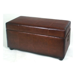 International Caravan - Bench Trunk w Lid and Ball Feet in Brown - In Brown. Made of Faux leather. Opens up to an enormous trunk for bedroom or house storage. 38 in. L x 20 in. W x 19 in. H