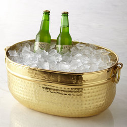 Hammered Party Bucket - This tub brings some shiny glamour to the affair. It's a great place for chilling sparkling water, beer or soda.