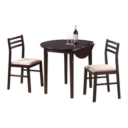 Adarn Inc - Dinettes 3 PC Table Chair Set Round Top w/ Drop Down Extension Fabric Seat, Capp - This three-piece table and chair set is a perfect option for your breakfast nook or entertaining space. It is casually styled and available in either a rich cappuccino or natural finish. The table features a round top with drop down extension, allowing you to customize the top to your dining needs. Each chair is upholstered in padded fabric seats, adding both comfort and refinement to the set.