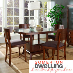 Somerton Dwelling - Somerton Dwelling Perspective 5-piece Counter Height Dining Set - Contemporary design with a retro style inspiration, this collection features a deep, rich chestnut brown finish with exotic Burmese veneers.