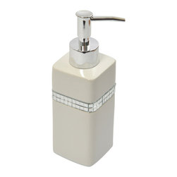 Stoneware Soap Dispenser Rhinestone Bright White - This elegant soap dispenser for bathrooms is in stoneware with a shiny rhinestone outline and will add a contemporary look and feel to your decor. This soap dispenser is a lovely accent for any bathroom and features a length of 2.36-Inch, a width of 2.36-Inch and a height of 7.48-Inch.The chrome-plated top unscrews for refilling with soap or lotion. Wipe clean with soapy water. Color bright white. Accessorize your bathroom countertop in a trendy style with this charming soap dispenser! Complete your decoration with other products of the same collection. Imported.