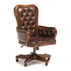 Executive Desk Chair - Solid mindi with mindi veneers and leather with button tufting. (Leather subject to change)