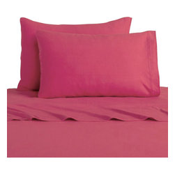Domestications - 3-Piece Passion Pink Solid Color Bedding Twin-Single Sheet Set - Features: