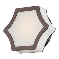 Minka-Lavery - Vestige LED Wall Sconce by Minka-Lavery - Modern minimalism meets a transitional aesthetic in the Minka-Lavery Vestige LED Wall Sconce. A concave hexagonal Etched White glass shade is trimmed in Harvard Court Bronze on the face of the shade, leaving the sides of the glass exposed to diffuse light in all directions. Ideal in eclectic modern spaces and more traditional interiors alike. Minka-Lavery, recognized as a leader in modern elegance, offers decorative lighting with high quality craftsmanship in a variety of materials, including solid brass, wrought iron and cast aluminum. Located in Corona, CA, the Minka Group is branched into three providers that offer creative designs as well as timeless classics: Minka-Lavery lighting, Minka Aire fans and George Kovacs lighting.
