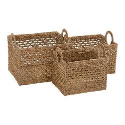 Benzara - Modern and Classic Style Seagrass Basket Set of 3 Home Decor - Description: