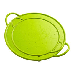 "Kuhn Rikon - Kuhn Rikon Silicone Splatter Guard Set of Two - Green - Splatter Guard + Strainer + Baking Sheet   The Kuhn Rikon Silicone Splatter Guards are perfectly sized for skillets and woks and will protect your stovetop from hot oil and liquid splatters when you are frying or sauteing. They are versatile, too, doubling as a baking sheet for making pizzas, cookies, and much more!  Features:  Green Color Set of two: 10"" + 12""  Sturdy metal-reinforced rim and handles  Rust-proof and easy to clean  Lightweight and easy to store  Handles keep fingers away from heat  Non-stick, FDA-approved food-grade silicone  Microwave, freezer and dishwasher safe  Oven safe to 450 degrees F   Suggested Uses: Cooking, frying, sauteing  Baking sheet Microwave cover  Works as a strainer too!"
