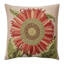 Single Sunflower Embroidered Pillow Cover - I am an avid gardener, so anytime I see a flower, I'm happy. This one is especially pretty because the flower fills up the whole pillow.
